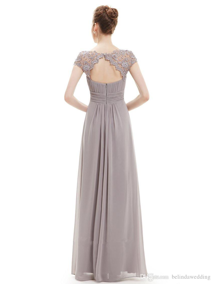 Country Style Grey Long Bridesmaid Dresses Sexy Back Sheer Lace Appliques Chiffon Cheap Maid of the Honor Dresses