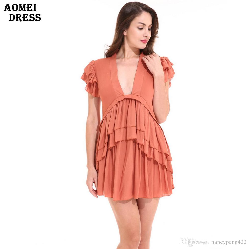 7d19702b262d Girls Cute Ruffles Mini Dress Linen V Neck Lolital Ropa Mujer Casual Plus  Size S M L XL 2XL Party Ladies Robes Gowns Clothing Gown Casual Dresses  From ...