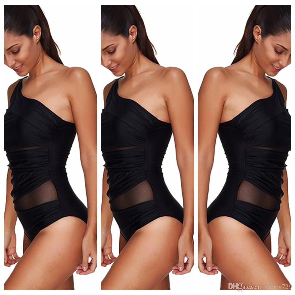 bc92449d2ea41 2019 Hisimple Women Sexy One Piece Swimsuit 2017 Summer Beachwear Mesh One  Shoulder Sheer Swimwear Bathing Suits Bodysuit Monokini Swimsuit From  Sherry729, ...