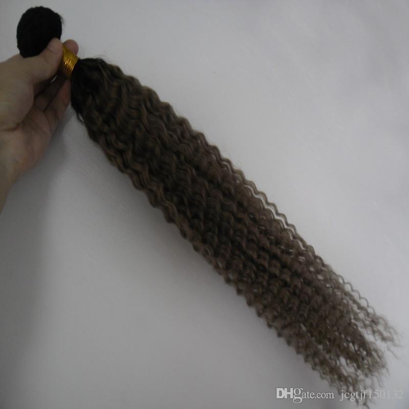 T1B / серый ombre серые волосы плетения монгольский кудрявый вьющиеся волосы серый вьющиеся пучки 100 г серый кудрявый переплетения волос 1 шт. двойной weftno клубок бесплатно