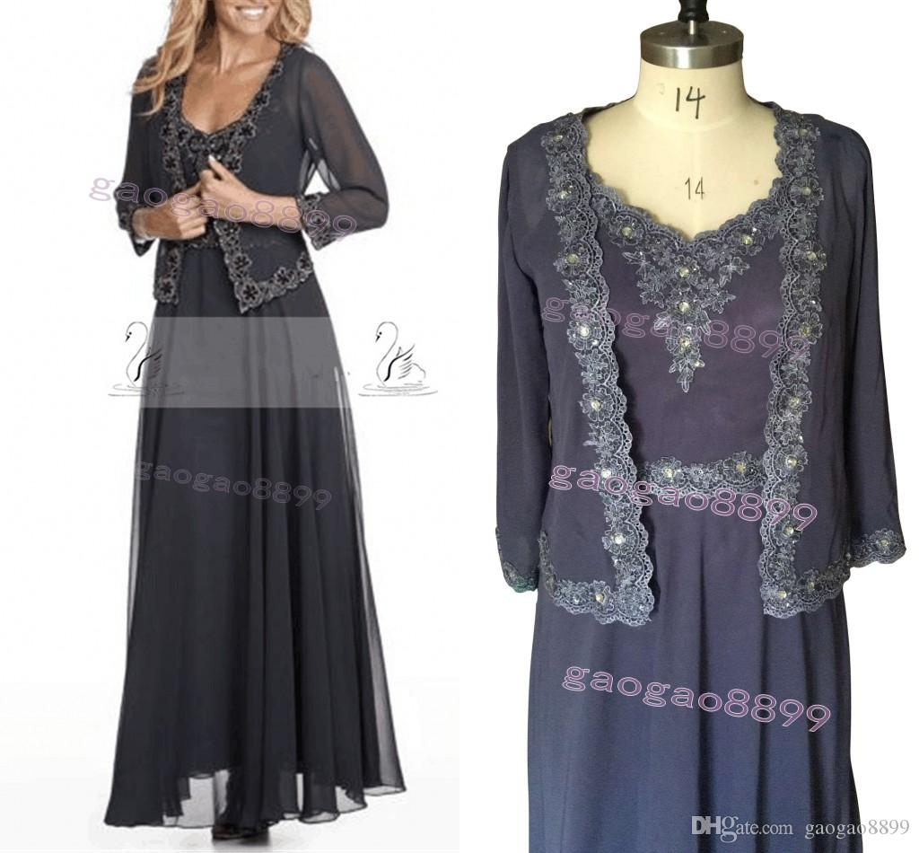 Real Picture 2019 Chiffon Cheap Mother Of the Bride Dresses Lace Collar Sleeveless with Jacket Custom Made Formal Evening Dresses