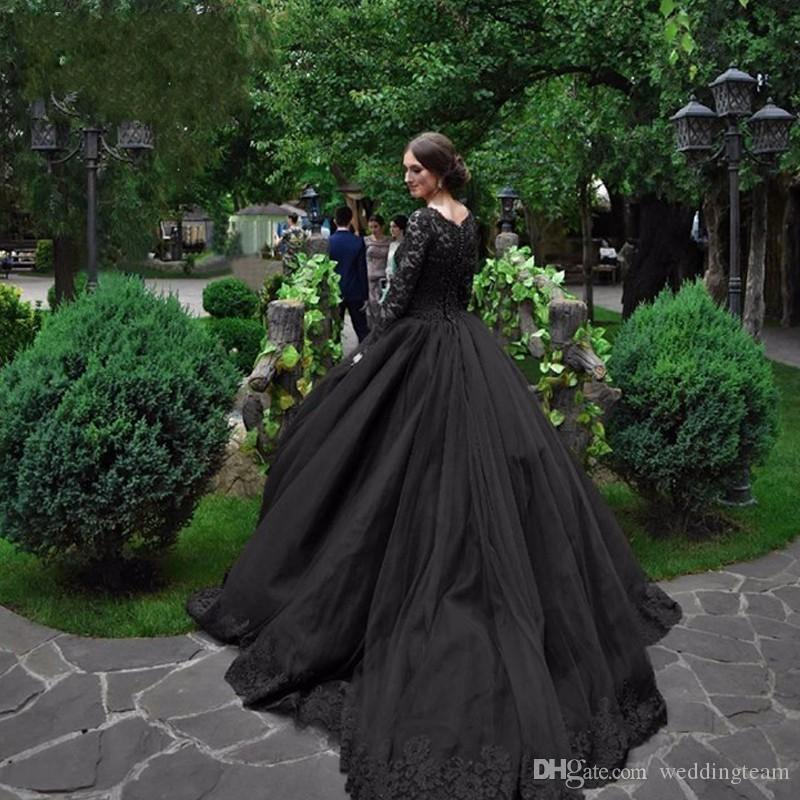 Schwarz Gothic Ballkleid Brautkleider Square Hals Langarm Applikationen Bridal Kleid mit Pailletten Perlen Tiered Röcke Hochzeitskleid