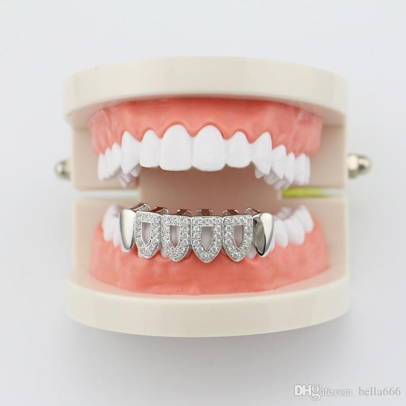 New Custom Women Men Hip Hop Gold Plated Full Micro Zircon Hollow Top Bottom Gold Grillz Dental Teeth Cap Halloween Gift Body Jewelry