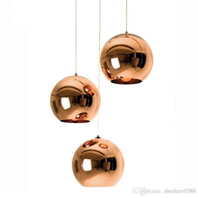 Современный стеклянный шар шар подвесные светильники медный оттенок подвесное освещение круглый потолок подвесной светильник светильник кухня светильник