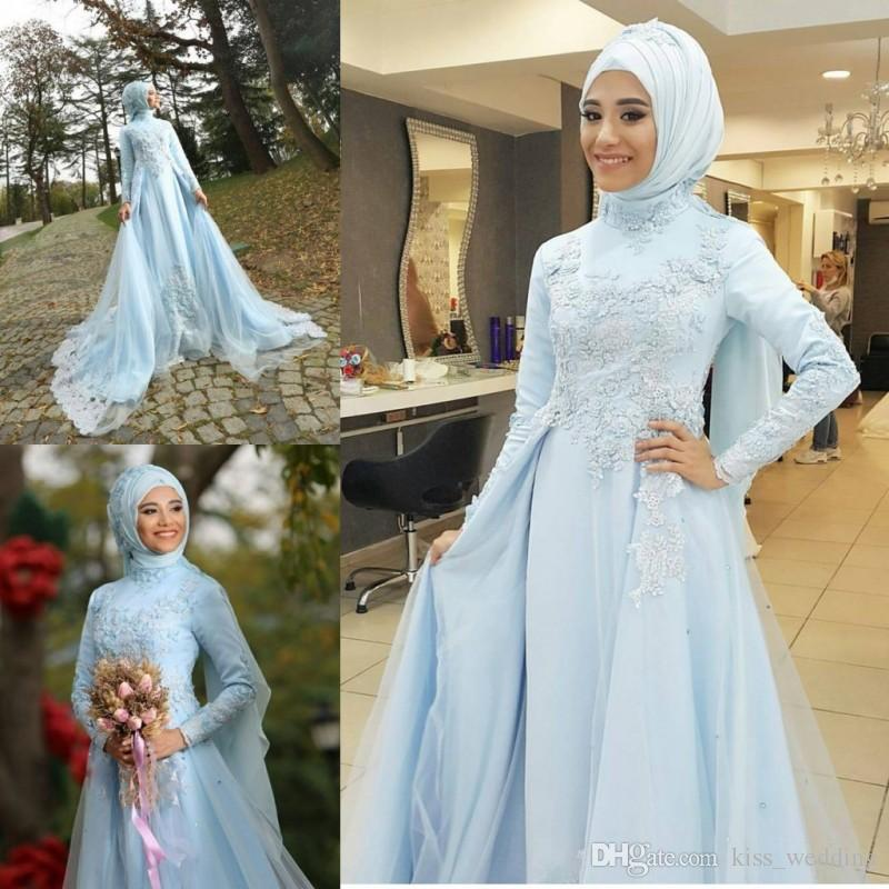 Glamorous Sky Blue Muslim Wedding Dress Long Sleeves High Neck Dubai ...