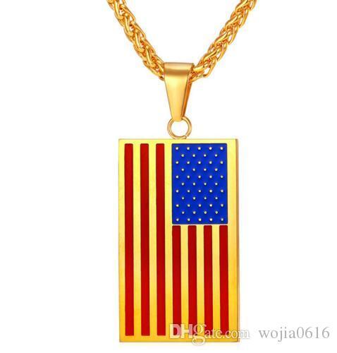 Anhänger Halsketten US-Flagge Anhänger Gold Farbe Edelstahl USA Amerikanische Kette Für Männer / Frauen Geschenk Modeschmuck P721