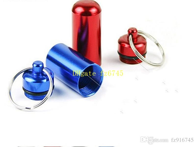 Fast shipping Colorful Mini Aluminum Waterproof micro Pills Box Case Bottle Holder Container Keychain Keyring bottles