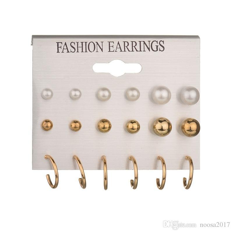 Mixe 9 çift / grup Moda 18 K Altın 925 gümüş Kaplama İnci saplama küpe Dangle Avize U-şekilli küpe Kulak takı Yüksek kalite ucuz