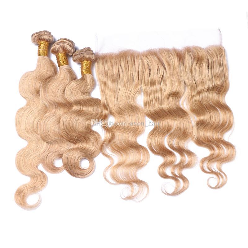 Miel Blond Corps Vague Cheveux ondulés Bundles Avec Dentelle Frontale Couleur Pure 27 Oreille À Oreille Frontale Avec Extension De Cheveux Vague De Corps