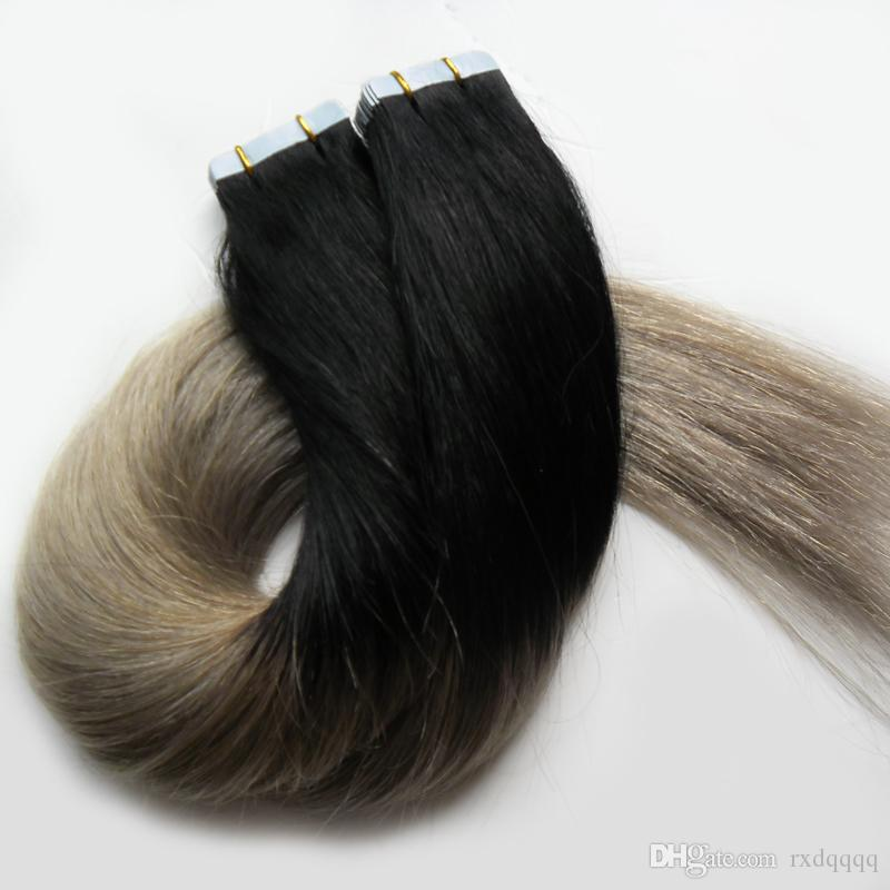 Ombre tape in human hair extensions brazilian 1B/silver gray hair extensions 100g Straight Skin Weft 7a grey tape hair extensions