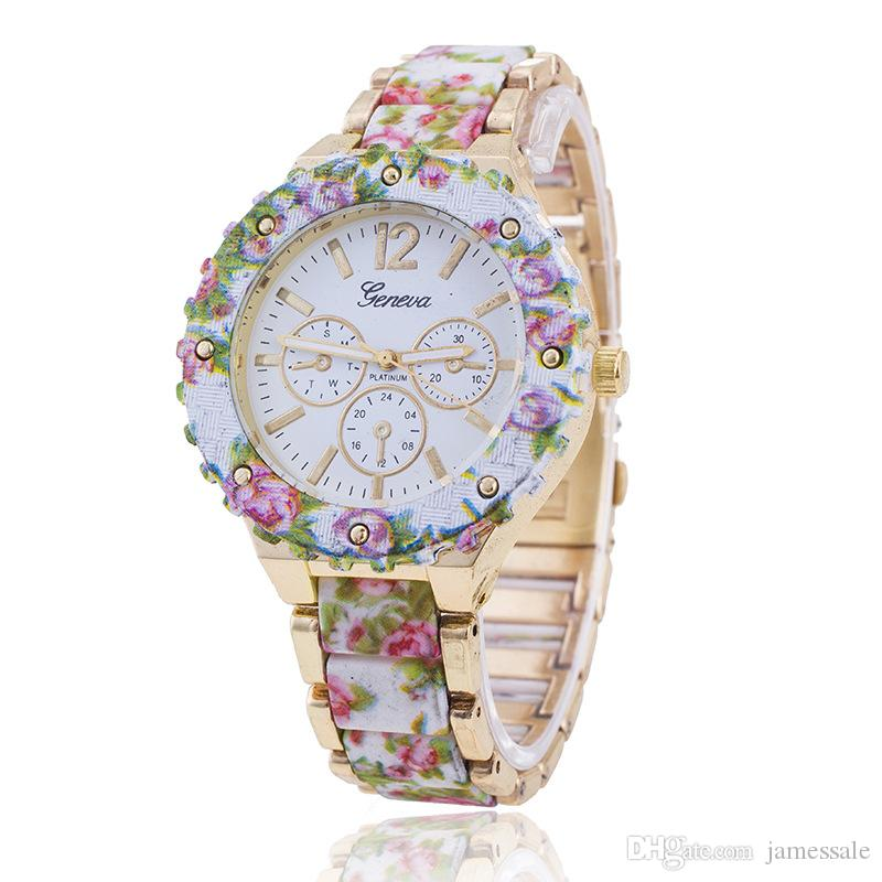 Supply the Europe and the United States Ms hot style alloy flower strap watch printed Geneva, Geneva watch wholesale