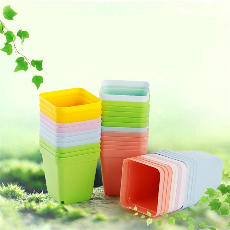 7 Renkler Bitki Saksı Moda Mini Plastik Saksı Renkli Kare Saksı Ev Ofis Dekorasyon Malzemeleri IA653