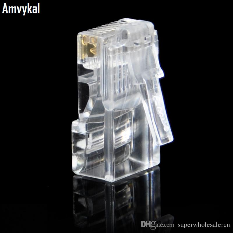 Amvykal Top Quality RJ45 RJ-45 8P8C CAT6 Modular Plug Ethernet Lan Cable Adapter RJ-45 CAT6E Network Connector