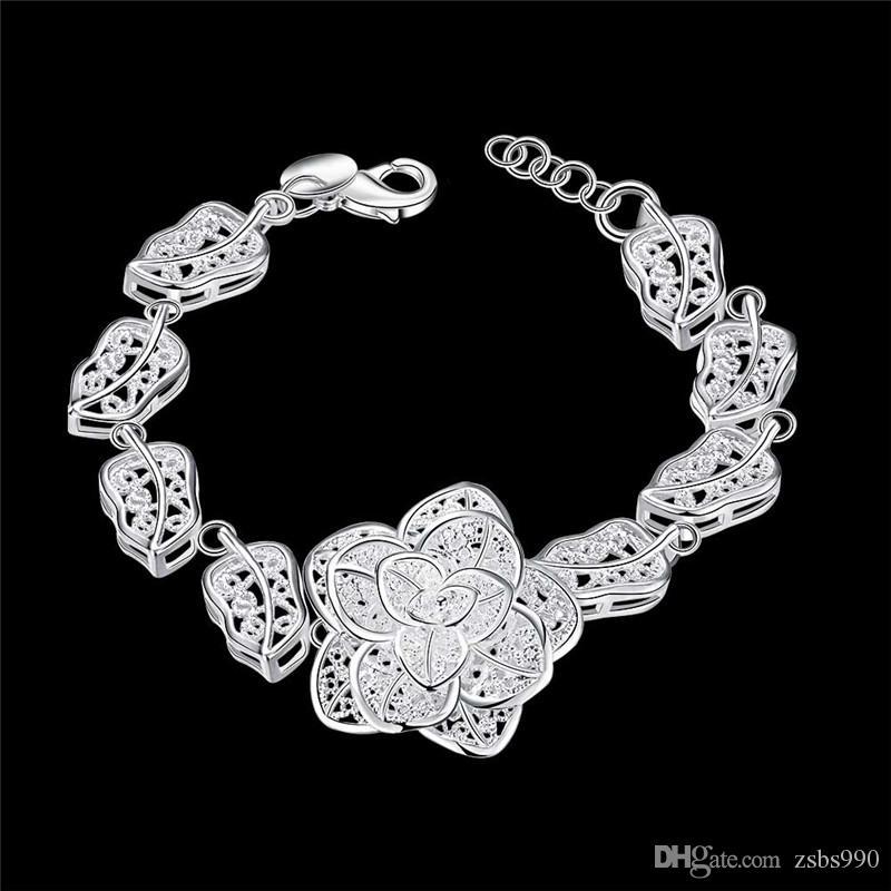 Fashion 925 Sterling Silver Rose Flower charm Bracelet women high quality 8 inch long