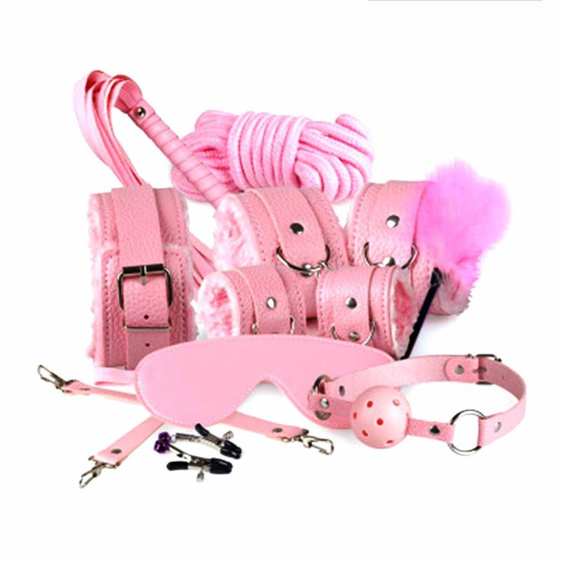 Sex 7-in-1 BDSM Gear Sex Bondage Restraint Kit PU Slave Wrist Ankle Cuffs Collar Whip Rope Blindfold Mouth Ball Gag Toys 3105003