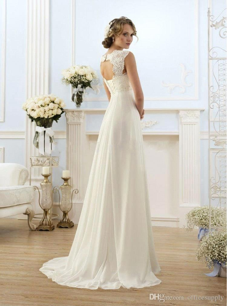 2019 New Cheap Romantic Beach A-line Wedding Dresses Cap Sleeve Keyhole Lace Up Backless Chiffon Summer Floor Length Bridal Gowns