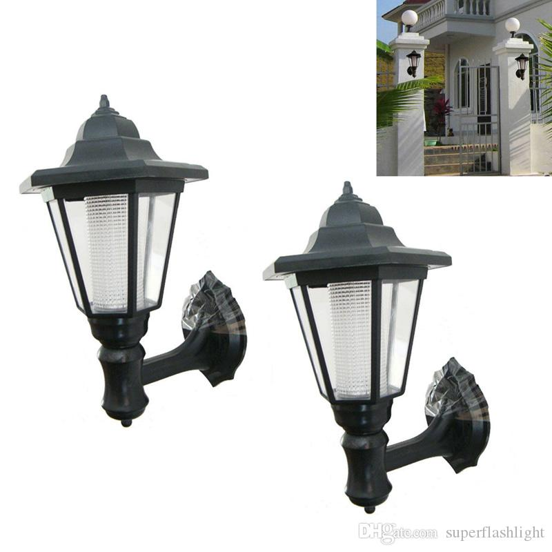 2Pcs Outdoor Solar Garden LED Lamp Green Power Building Wall Path Hanging Lights Outdoor Wall Lamps LEG_21O