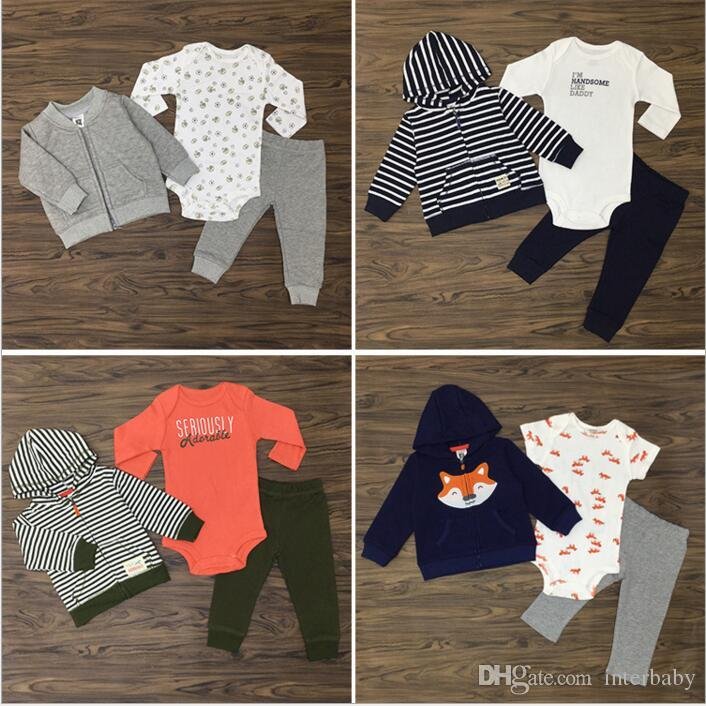 76f3b867208e Baby Clothes Kids Fox Striped Suits Ins Romper Coat Pants Outfits Cotton  Jumpsuit Jackets Trousers Cartoon Long Sleeve Clothing Sets B3202