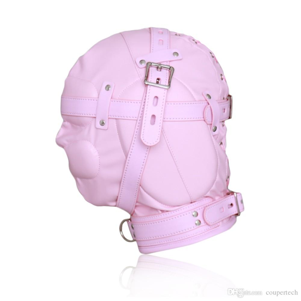 COUPER Pink/Black PU Leather Breathable Stoma Fetish Bondage Sex Mask CP-GN0100