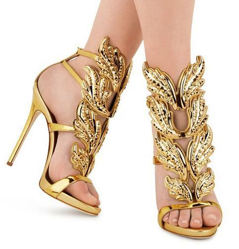 Strass Engel Flügel Stiletto Lady High Heels Sandalen Plattform Keil Rom Stil gestaltete Pumps Party Kleid Schuhe Blatt Heels Sandalen Schuhe