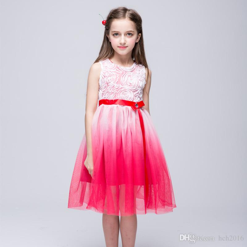 Baby Kids Clothing Summer Flower Girls' Dresses princess Ball Gown Pink Red white pageant dress TuTu skirt tulle Party gowns Sundress #28