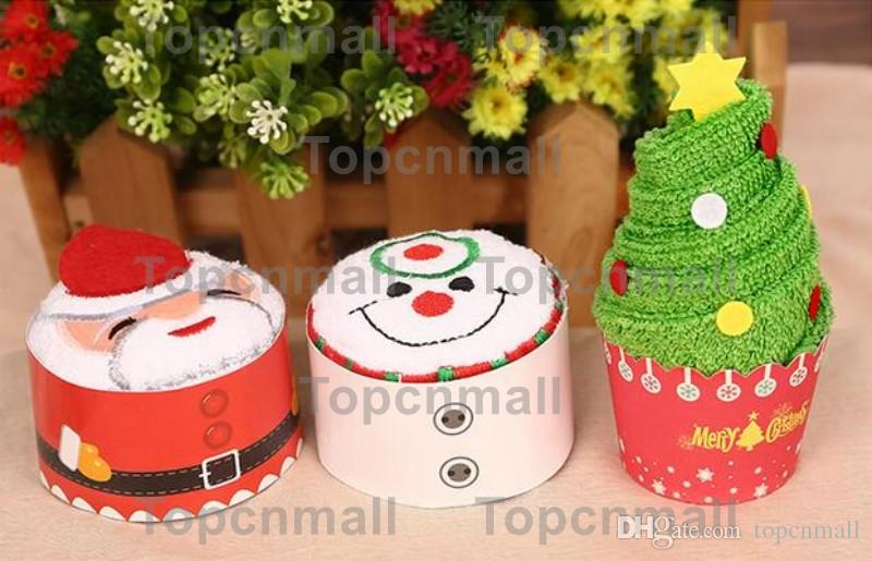 Fast shipping New Fashion Christmas tree modeling cake towel 100% cotton towel Party Favors Wedding birthday gift Christmas gift TPML-2689