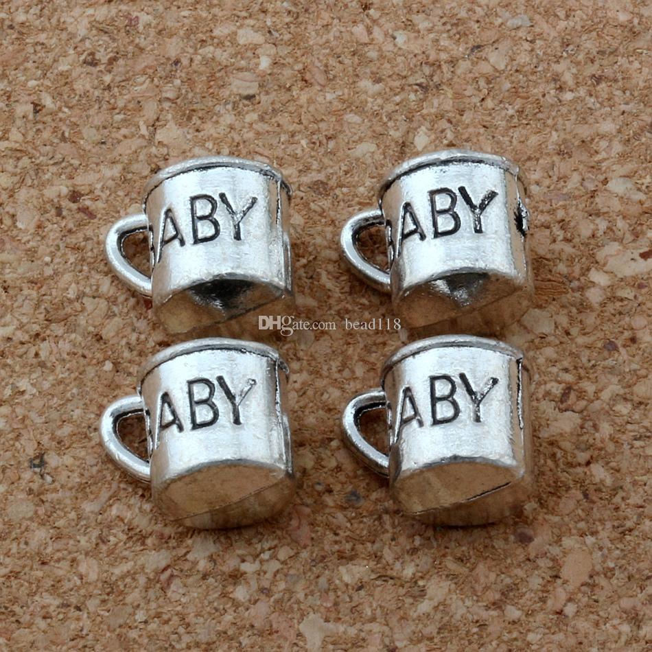 100 stücke Antike Silber Zink Legierung 3D Baby Cup Charms Anhänger für Schmuckherstellung Armband Halskette DIY Zubehör 12x9mm
