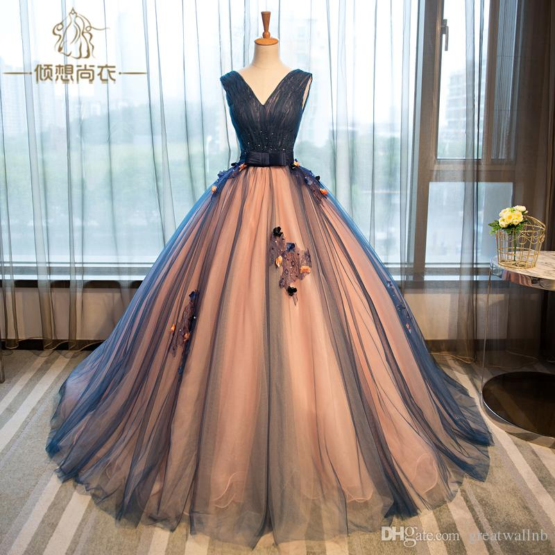 100%real Navy Veil V Neck Ball Gown Medieval Dress Renaissance Gown ...