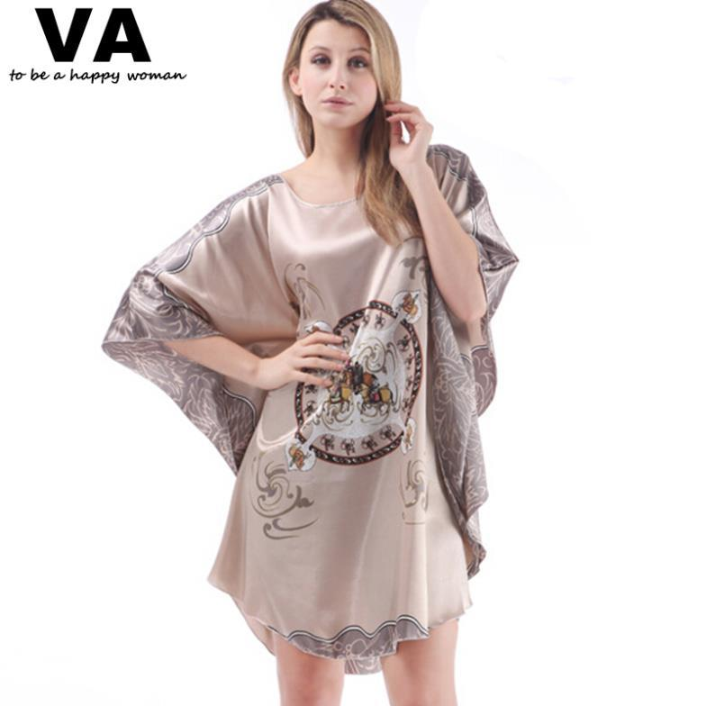 2019 Wholesale Plus Size Sleepwear Plus Size Robe Bathrobes Batwing Sleeve  Circle Print Rayon Silk Nightgowns Women New Loose Nightgown W00169 From  Michalle ... 9da5a125b