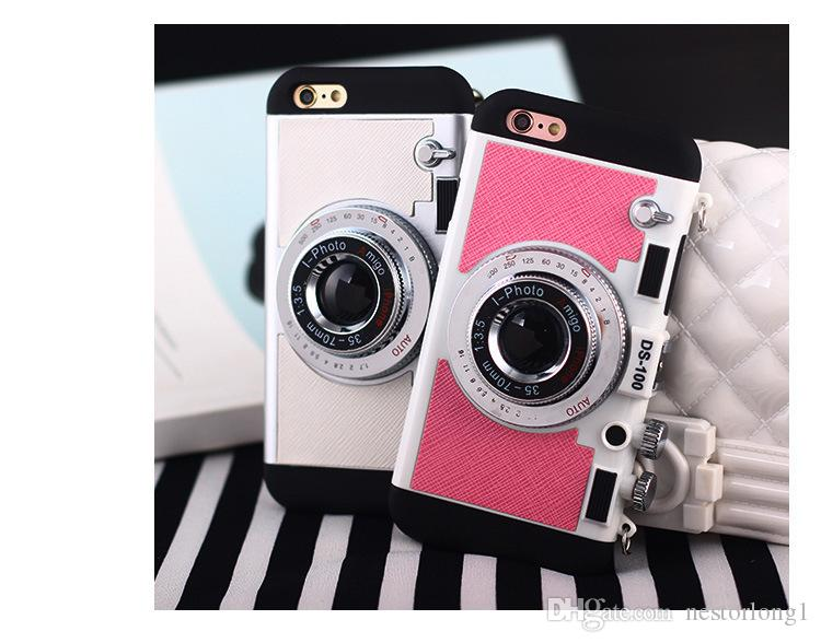Korean Style Cool 3D Vintage Camera Neck Strap Phone Cases For 6 6s 7 7Plus Case Soft Silicone