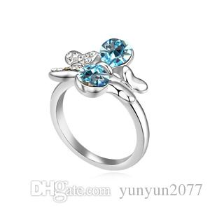 Gifts High End Luxury Fine Jewelry Accessories Austrian Crystal Bubbles Butterfly Party Cocktail Fingers Charm Wedding Bands Rings For Women
