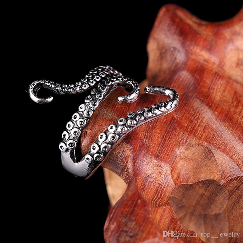 Alliage de zinc Punk Style Squid Octopus Bague 2017 Nouveaux Hommes Bijoux Animaux Ouvert Bague Réglable Pour Homme
