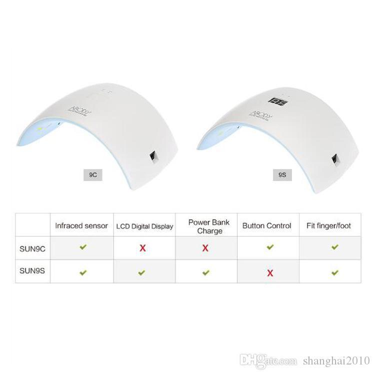 UVLED SUN9c SUN9s 24 W Lámpara UV LED profesional Secador de uñas Máquina de esmalte para curar el arte del gel de uñas herramienta 20 unids