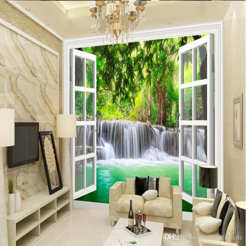 Free Shipping 3D Stereo Forest Waterfall Wallpaper Bedroom Living Room  Custom Natural Landscape Wall Painting Wallpaper Mural