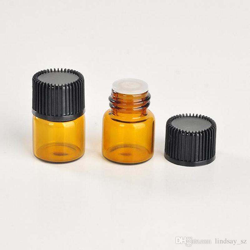 1 ملليلتر 1/4 درام العنبر الزجاج الضروري زجاجة الزيت عطر عينة أنابيب زجاجة مع التوصيل وقبعات الشحن السريع