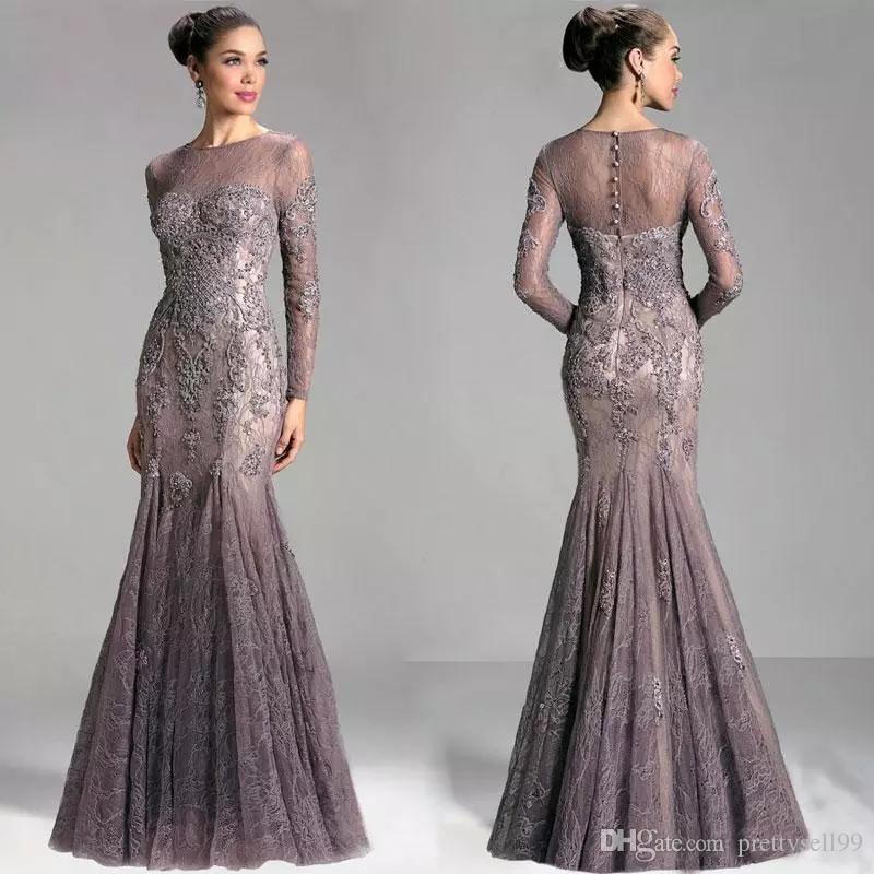 92d49bd2a2 Janique Arabic Dubai Mermaid Lace Evening Gowns 2017 Kaftan Elegant Long  Sleeves Beaded Formal Prom Party Dresses