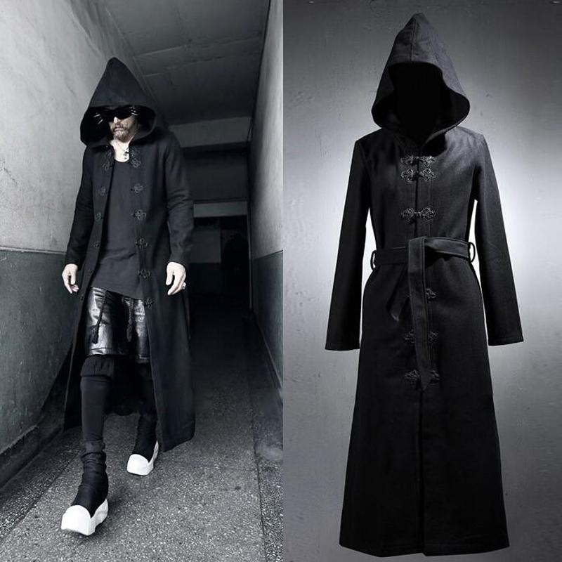 New Design Men'S Gothic Rock Thick Long Hooded Coat 2017 Fashion ...