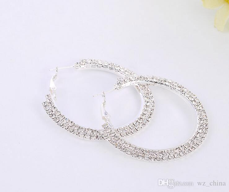Las esposas de plata pendientes de aro Color de la galjanoplastia de plata diamante Checa grandes del aro pendientes de bolas pendientes de joyería manera de la buena calidad para las mujeres