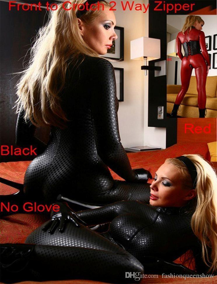 Femmes Noir Rouge Sexy En Cuir Simili Cuir Clubwear Modèle De Grille Lingerie Jumpsuit Adulte Catsuit Zipper à Entrejambe 2 Façon Zipper Costumes Exotiques