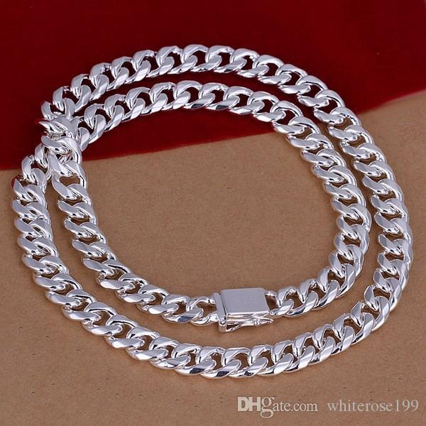 Men's20 ,24''50 cm60cm 10mm 925 Sterling silver necklace 115g solid snake chain n011 gift pouches