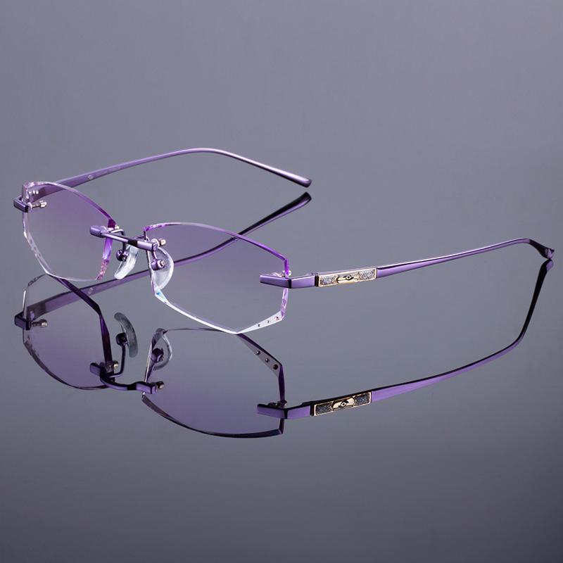 5d708a0ca12 2019 Wholesale Titanium Alloy Glasses Frame Original Brand Women Rimless  Frames Diamond Trimming Cut Rimless Glasses With Gradient Tint Lenses From  Huteng