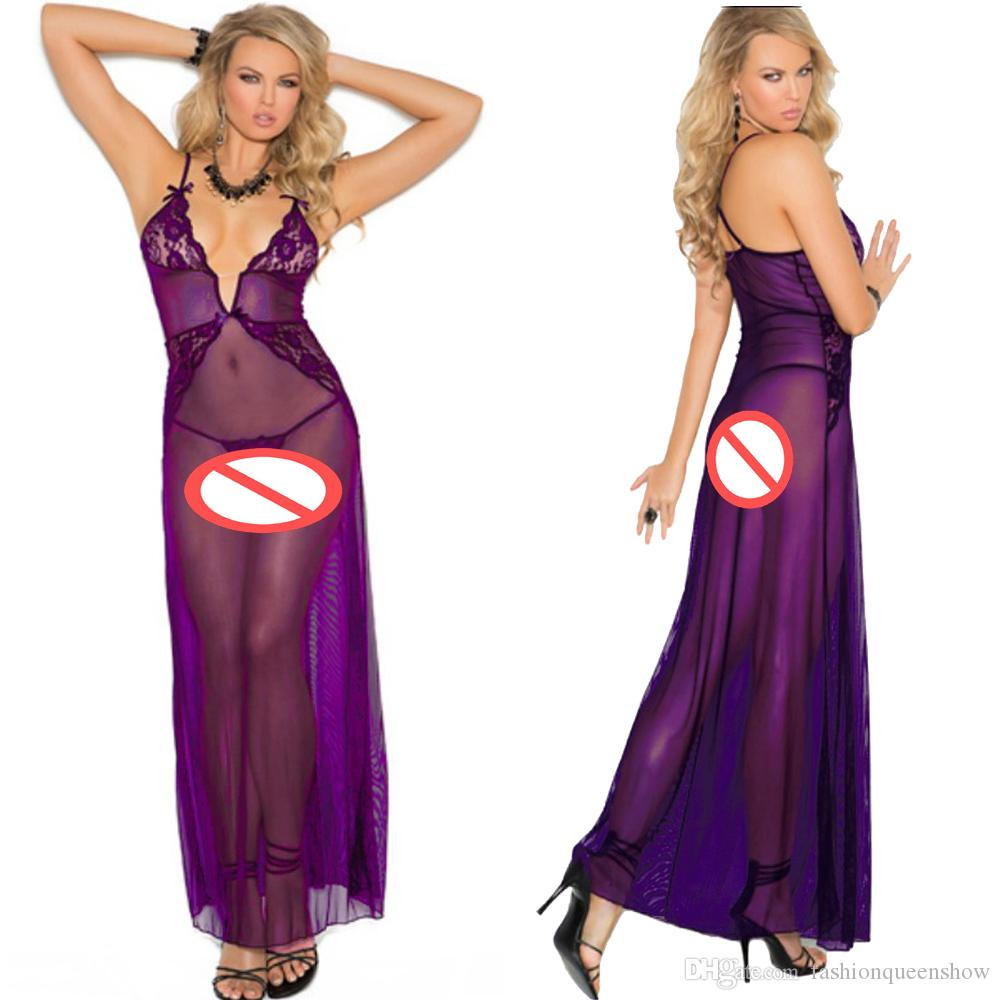 4aba8b6ddffc 2019 Attractive Sexy Purple Nightdress Floral Lace Lingerie Women Deep V  Neck Slips See Through Babydolls Long Mesh Underwear From Fashionqueenshow