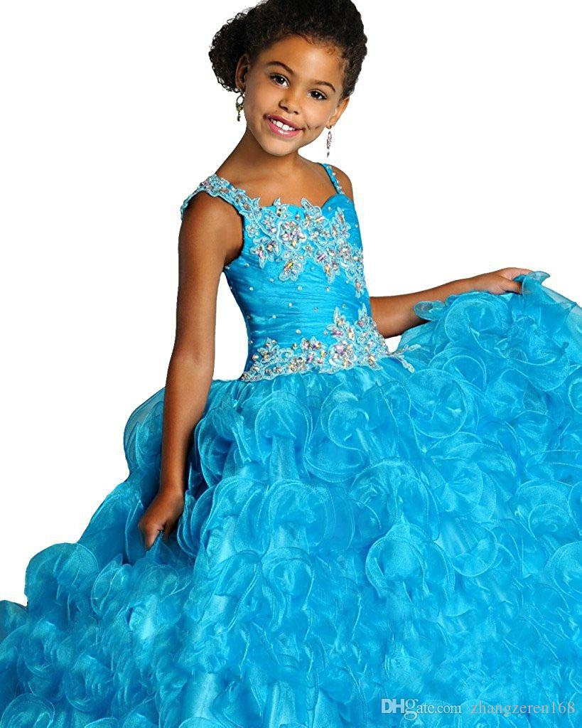 applique beautiful purple glitz pageant dress for girls size 8 12 long prom corset puffy ball gown kids turquoise party dresses