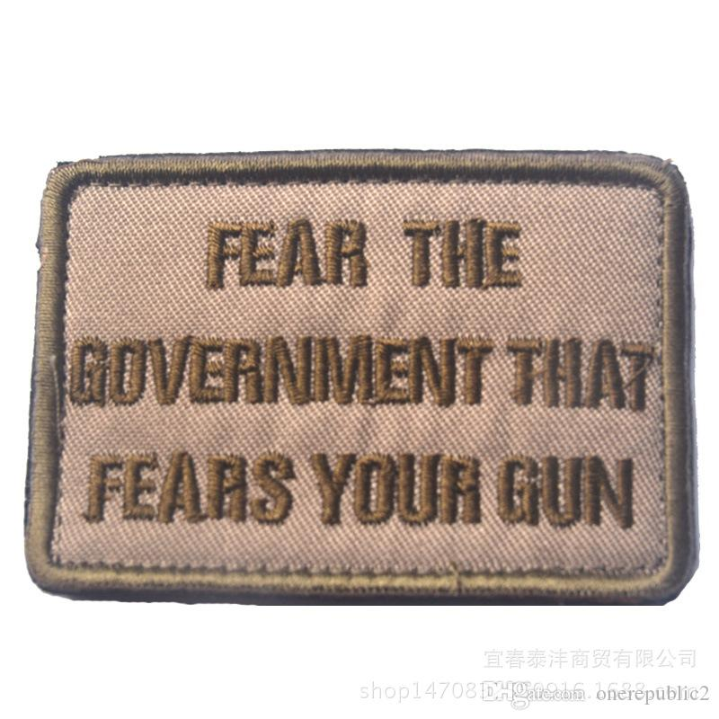 30pc Fear the Government That Fears Your Gun Logo Morale Label Patch Sticker tactical backpack patches for cap jacket
