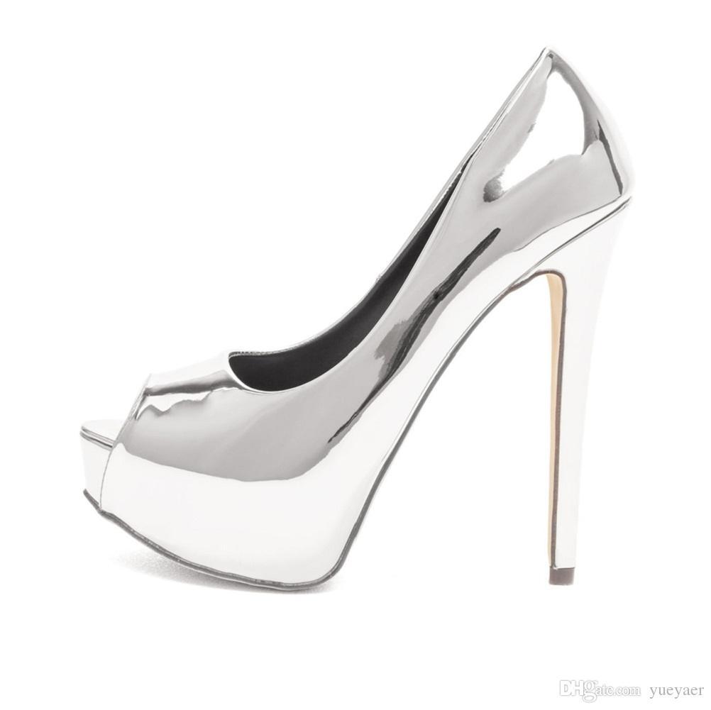 Zandina Femmes Mode Sexy À La Main Talon Haut Peep Toe Plate-forme Multicolore Stiletto Slide Pompes De Mariée Chaussures Argent K323