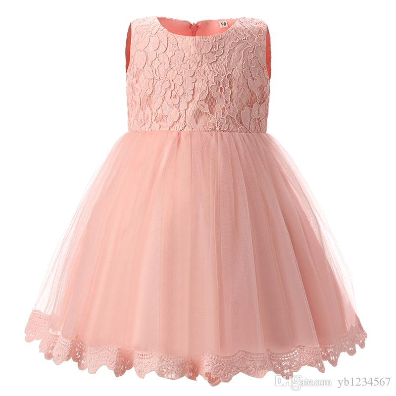 5a28a98a5 2019 Girls Pink Princess Dress Baby Birthday Lace Flower Big Bow Clothes  Toddler Girl Party Mini Dresses Kids Wedding Pageant Formal Gowns From  Yb1234567, ...