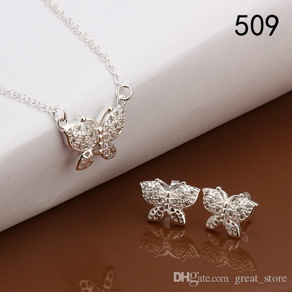 new arrival women's gemstone sterling silver jewelry sets mix style same price,wedding 925 silver Necklace Earring jewelry set GTS32a