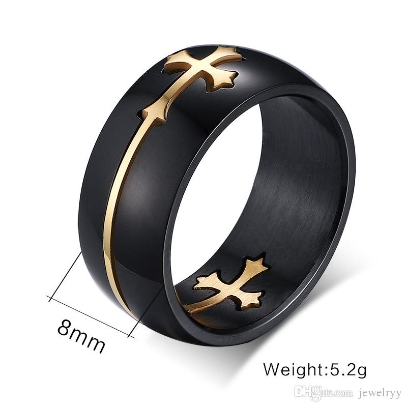 Wholesale Men's gfts Fashion Titanium Ring Polished Mens Womens Promise Wedding Engagenebt Band Rings with moveable cross