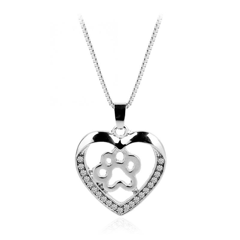 Wholesale crystal hollow heart dog paw necklace silver pet paw wholesale crystal hollow heart dog paw necklace silver pet paw pendant for women best friends jewelry 162239 charm bracelets necklaces from usdream aloadofball Image collections