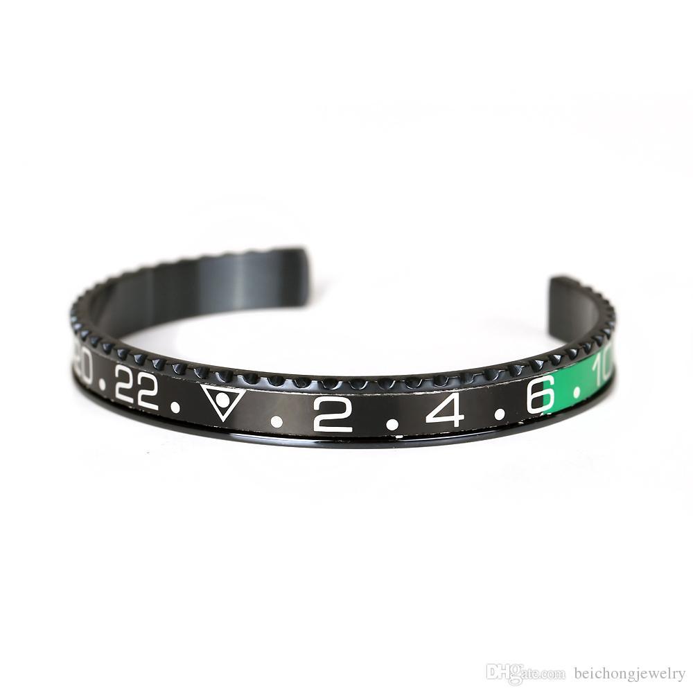 Classico nero placcato tachimetro ufficiale Dia bracciale uomini Bracciale Bangles in acciaio inossidabile 316l tachimetro lunetta bracciale gioielli da uomo